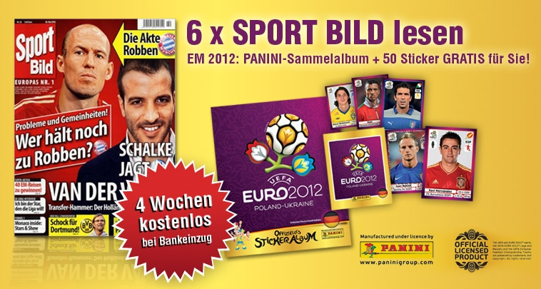 bis zu 10 ausgaben sport bild 50 panini sticker album f r 9 60. Black Bedroom Furniture Sets. Home Design Ideas