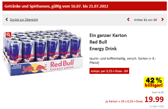 1 tray red bull 24 dosen f r 19 95 pfand bei kaufland. Black Bedroom Furniture Sets. Home Design Ideas