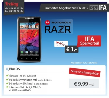 top sparhandy daily ifa deals heute motorola razr o2 blue xs f r 9 99 monat. Black Bedroom Furniture Sets. Home Design Ideas