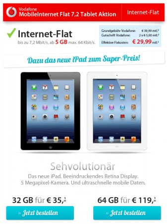 vodafone internet flat mit 5gb 32gb ipad 3 wieder bei sparhandy. Black Bedroom Furniture Sets. Home Design Ideas