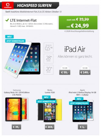 vodafone mobile internet lte 21 6mbit s 4 5gb 3gb mit g nstigen tablets wieder bestellbar. Black Bedroom Furniture Sets. Home Design Ideas