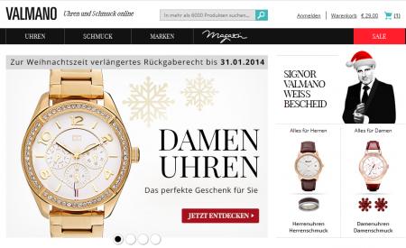 Valmano  20% auf Schmuck + Uhren bei Valmano - MonsterDealz.de