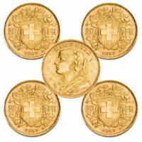 5 x Gold Vreneli 20