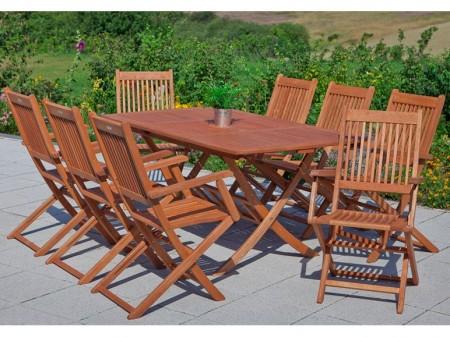 merxx rio 9 teiliges eukalyptus gartenm bel set f r 453 95. Black Bedroom Furniture Sets. Home Design Ideas