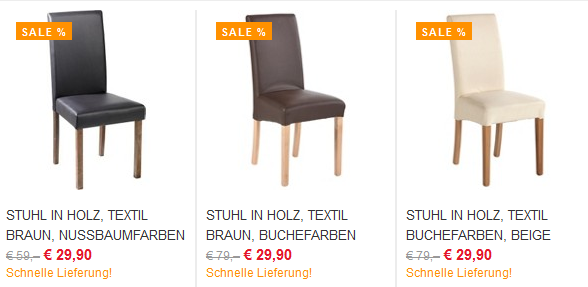 esstisch st hle promo in verschiedenen farben f r 29 90 g nstige schwingst. Black Bedroom Furniture Sets. Home Design Ideas