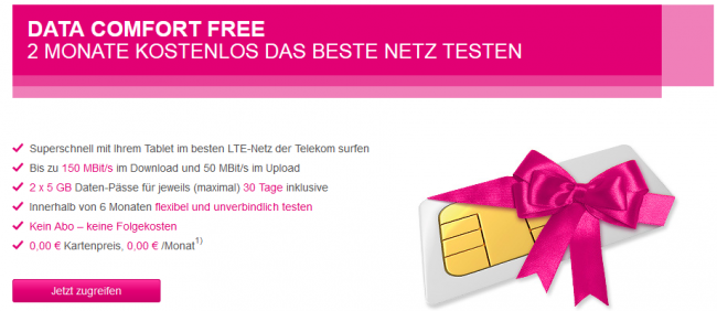 top telekom mobilfunk data comfort free lte 2x 1. Black Bedroom Furniture Sets. Home Design Ideas