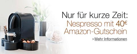 amazon nespresso maschinen kaufen und 40 amazon gutschein erhalten. Black Bedroom Furniture Sets. Home Design Ideas