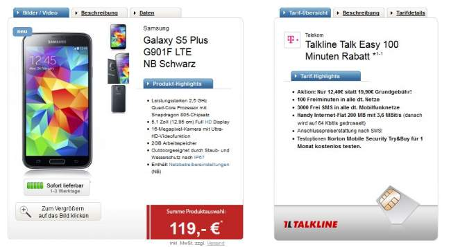 talkline talk easy mit galaxy s5+ guenstig