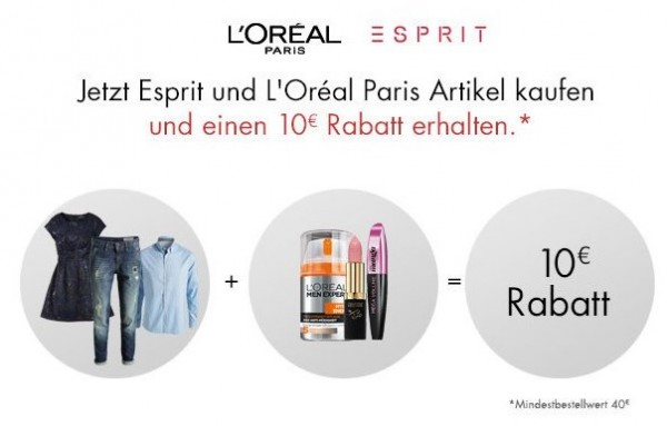 amazon esprit loreal 10€ rabatt