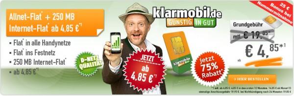 klarmobil allnet flat mit 250mb internet günstig 1