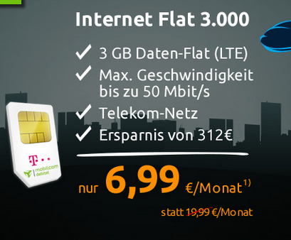 top mobilcom debitel internet flat mit 6gb lte datenvolumen im telekom netz f r 9 99. Black Bedroom Furniture Sets. Home Design Ideas