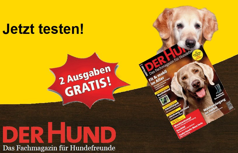2 ausgaben der zeitschrift der hund gratis. Black Bedroom Furniture Sets. Home Design Ideas