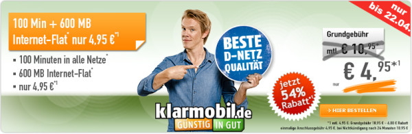 bestpreis klarmobil 100 freiminuten 600mb datenvolumen. Black Bedroom Furniture Sets. Home Design Ideas