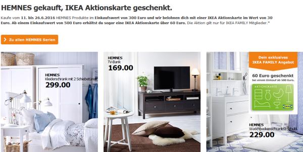 ikea family produkte der serie hemnes kaufen und 30 oder 60 als aktionskarte erhalten. Black Bedroom Furniture Sets. Home Design Ideas
