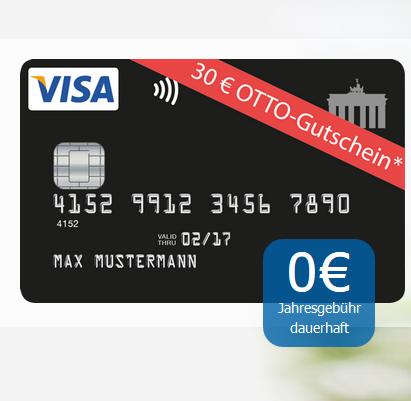 dauerhaft kostenlose deutschland kreditkarte mit 30 otto gutschein als pr mie. Black Bedroom Furniture Sets. Home Design Ideas