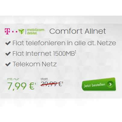 mobilcom debitel telekom comfort allnet allnet flat 1 5gb f r 7 99. Black Bedroom Furniture Sets. Home Design Ideas