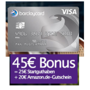 45€ Prämie für gebührenfreie Barclaycard New Visa Kreditkarte