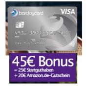 45€ Prämie für gebührenfreie Barclaycard New Visa Kreditkarte