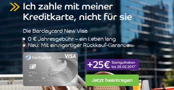 tipp kostenlose barclaycard new visa mit 25 startguthaben. Black Bedroom Furniture Sets. Home Design Ideas