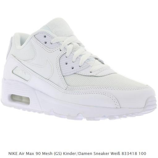 the best attitude d48f4 12eb6 Outlet46 hat uns noch einen weiteren Deal zukommen lassen und zwar bekommen  Kinder und Damen die NIKE Air Max 90 Mesh (GS) Sneaker in weiß für je  59,99€.