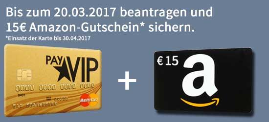 dauerhaft kostenlose payvip mastercard gold jetzt mit 15 amazon gutschein. Black Bedroom Furniture Sets. Home Design Ideas