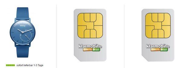 klarmobil sim karte SUPER* 2x Klarmobil Sim Karte inkl. 10€ Guthaben + Withings