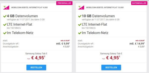 super md telekom internet flat mit 10gb lte inkl samsung galaxy tab e einmalig 4 95 f r. Black Bedroom Furniture Sets. Home Design Ideas