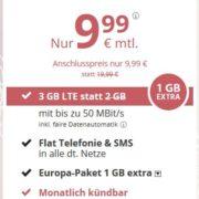 PremiumSIM Allnet-Flat + SMS-Flat + 3GB LTE + FLAT EU Ausland + monatlich kündbar für 9,99€/Monat (4GB für 12,99€ / Monat)