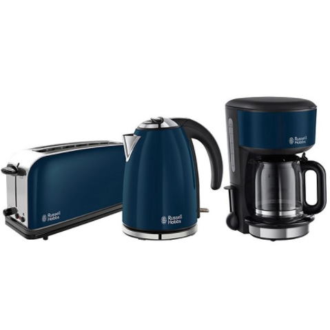 russell hobbs colours royal blue fr hst cksset mit langschlitz toaster kaffeemaschine und. Black Bedroom Furniture Sets. Home Design Ideas