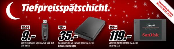 3d01c9aa1 MediaMarkt Tiefpreisspätschicht mit vielen Speicher-Produkten – z.B. SANDISK  Cruzer Ultra USB-Stick 32 GB für 9€