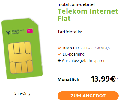Top Mobilcom Debitel Telekom Internet Flat 4gb10gb Lte Bis 150