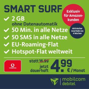 md smart surf 50 minuten 50 sms 2gb datenvolument im vodafone netz f r dauerhaft 4 99 monat. Black Bedroom Furniture Sets. Home Design Ideas