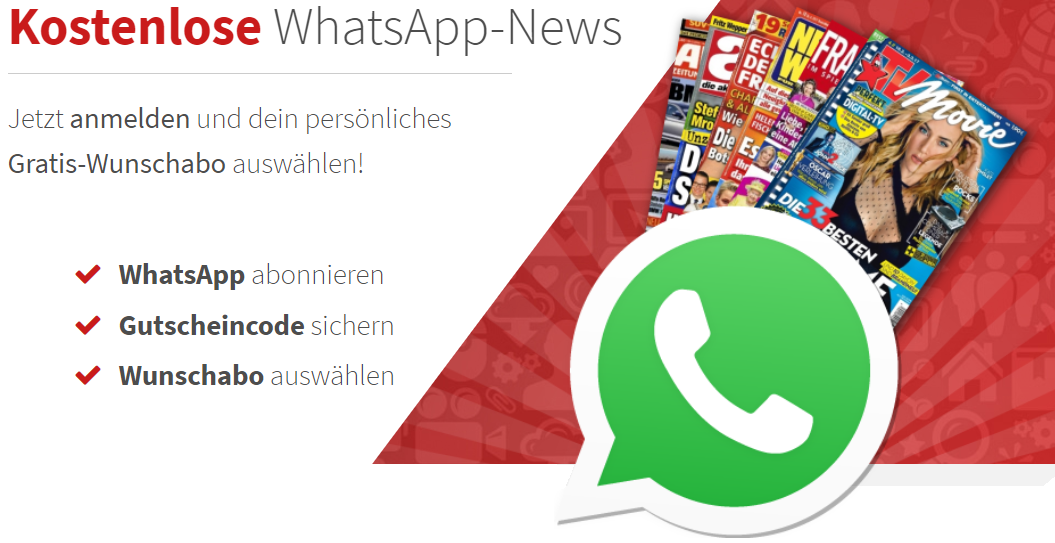 Kostenlose WhatsApp-News - Gratis Wunschabo
