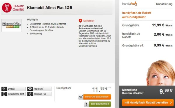 handyflash klarmobil vodafone allnet flat sms flat 3gb datenflat f r 9 99 monat einmalig. Black Bedroom Furniture Sets. Home Design Ideas