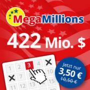 Lottohelden: Neukunden - 3 Felder MegaMillions für nur 3,50€ (Chance auf 422 Mio. $)