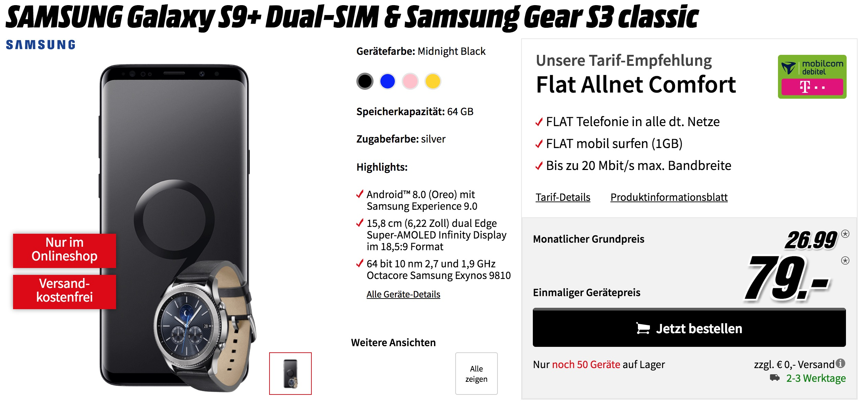 knaller telekom netz allnet flat 1 gb mit samsung galaxy s9 gear s3 classic mit 113. Black Bedroom Furniture Sets. Home Design Ideas