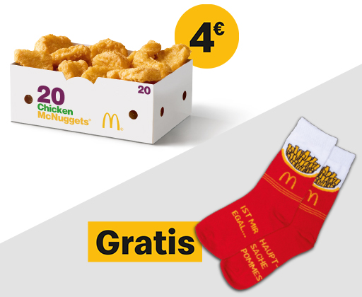 Weg sparen mehrere farben schönes Design 20 Chicken McNuggets + Pommes-Socken für 4€ bei MC Donalds ...