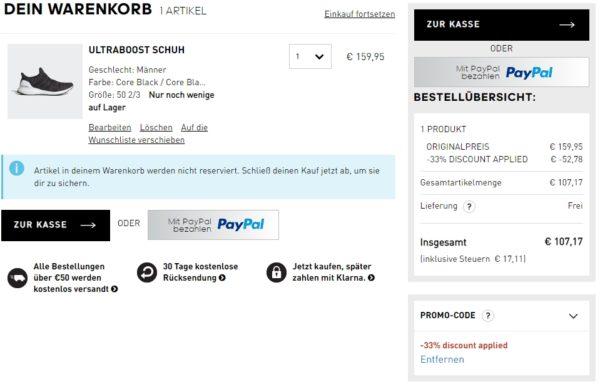 adidas UltraBoost Laufschuhe - Warenkorb