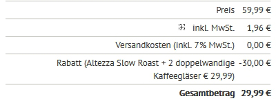 Altezza Slow Roast Coffee - Gutscheintest