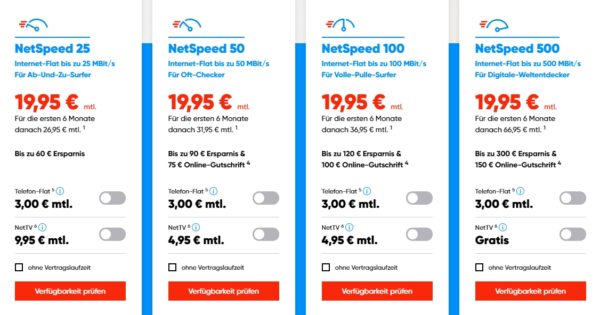 NetCologne - NetSpeed - Tarifübersicht