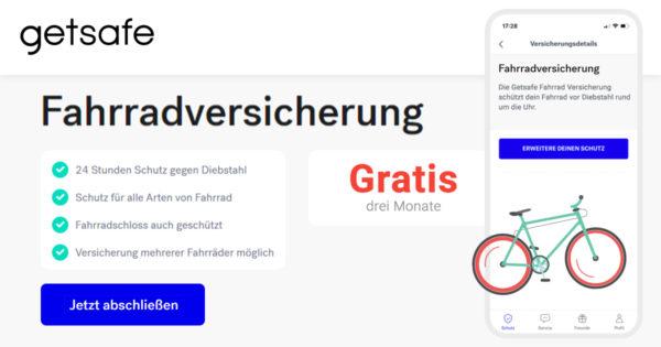 Getsafe - Fahrradversicherung - Kostenlos - Guthaben - Banner