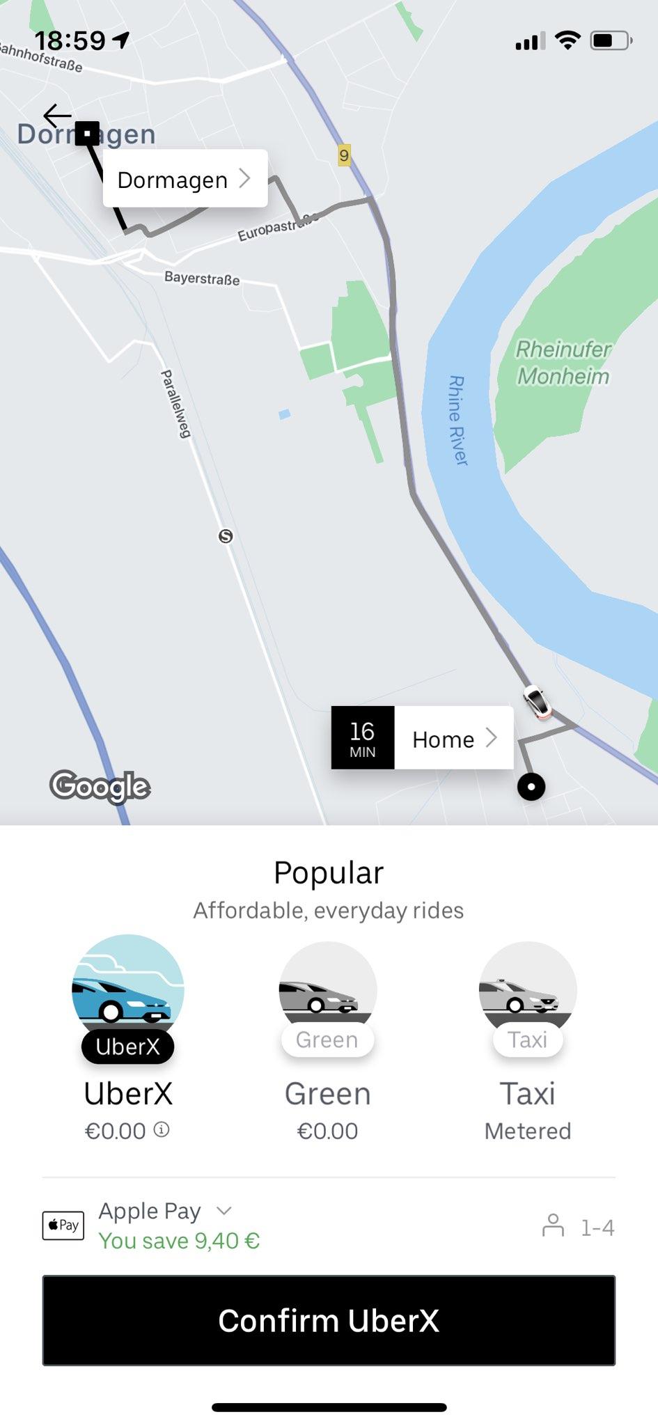 Uber - App - Auto buchen