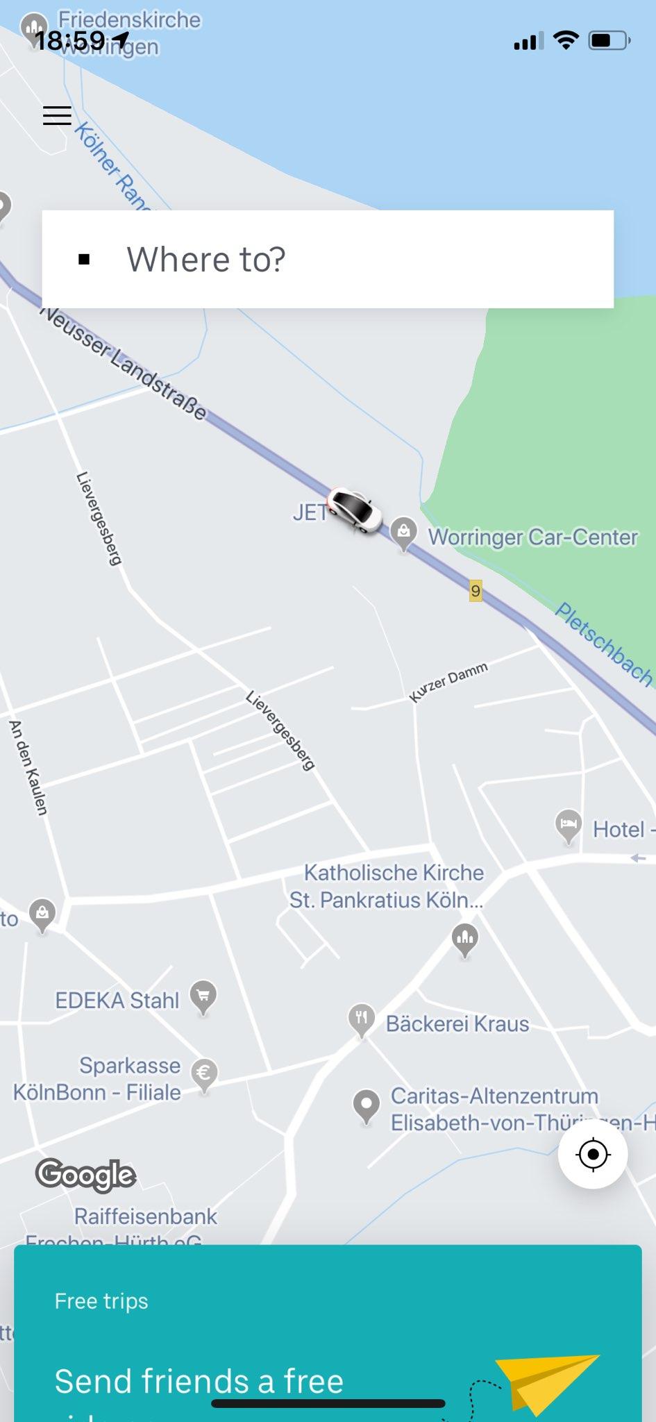 Uber - App - Karte