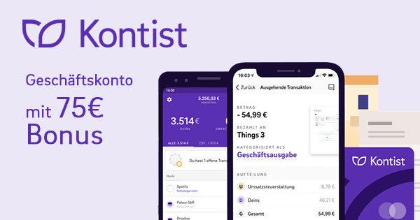 Kontist - Geschäftskonto mit bis zu 75€ Bonus