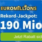 *HEUTE BESTANDSKUNDEN 190 MIO € JACKPOT* Lottohelden: 4 Felder EuroMillions + Spielegemeinschaft (1.176 Chancen) für 23€ (statt 33€)