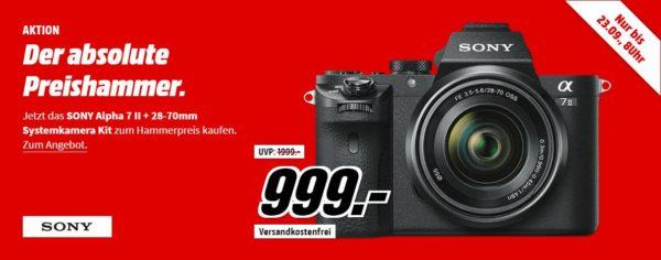 SONY Alpha 7 M2 Kit (ILCE-7M2K) Systemkamera 24.3 Megapixel mit Objektiv 28-70 mm , 7.6 cm Display , WLAN