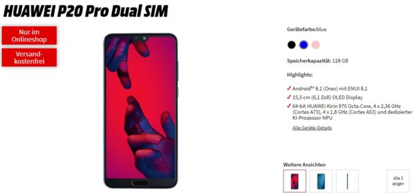 mediamarkt tarife welt md green huawei p20 pro smartphone