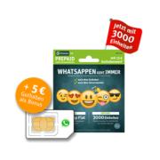 *TOP* WhatsApp SIM mit 3.000 Einheiten (MB/MIN/SMS) mit 15€ Startguthaben für 10€ - keine Drosselung für WhatsApp