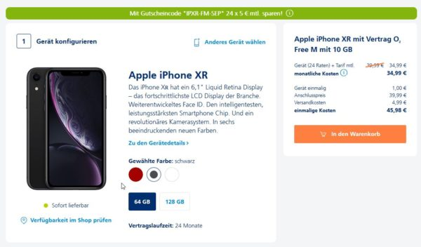 Apple iPhone XR mit Vertrag O2 Free M mit 10 GB
