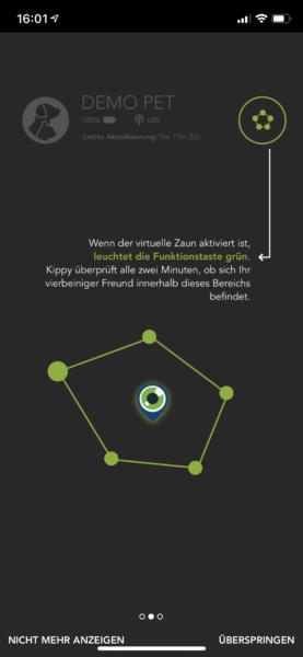 kippy app geofence aktivieren hinweis anleitung